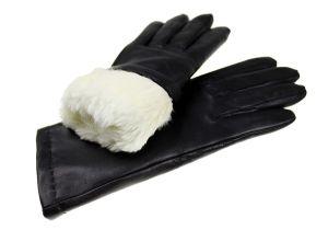 43cd178ba5b89 Ciepłe, damskie rękawiczki skórzane z naturalnym futerkiem z królika