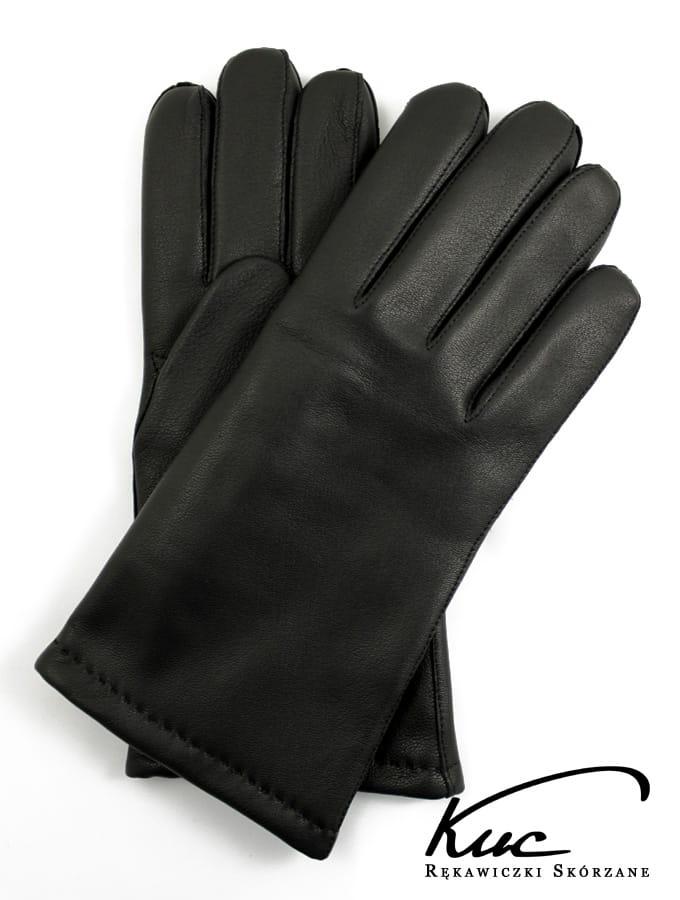 821f7783160313 Ciepłe, męskie rękawiczki skórzane z ociepleniem wełnianym - czarne
